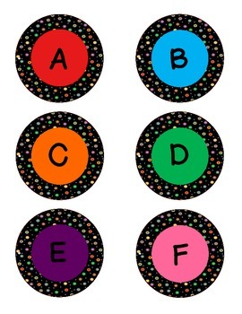 Colored Polka Dots on Black Alphabet- Circles