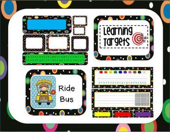Colored Polka Dots on Black Classroom Theme Bundle