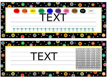 Colored Polka Dots on Black Editable Bundle