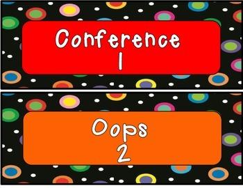 Colored Polka Dots on Black Leveled Behavior Chart