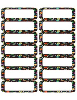 Colored Polka Dots on Black Multi-Sized Labels