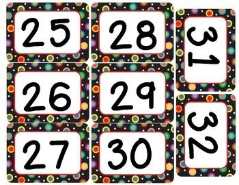 Colored Polka Dots on Black Number Labels