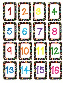 Colored Polka Dots on Black Numbers
