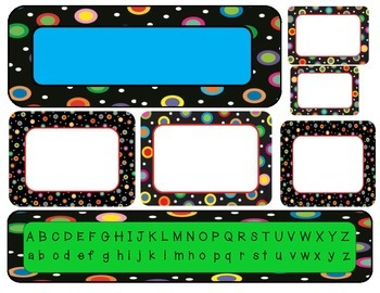 Colored Polka Dots on Black Student Organization Pack