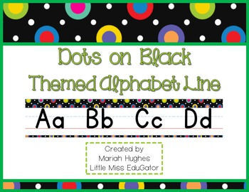 Multi-Colored Polka Dots on Black  D'Nealian Manuscript & Cursive Alphabet Line