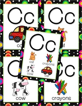 Multi-Colored Polka Dots on Black Themed Alphabet Posters