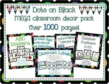 Multi-Colored Polka Dots on Black Themed MEGA Classroom Decor Pack