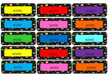 Colored Polka Dots on Black Word Wall Words