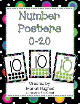 Multi-Colored Polka Dots on Black themed Number Posters 0-20