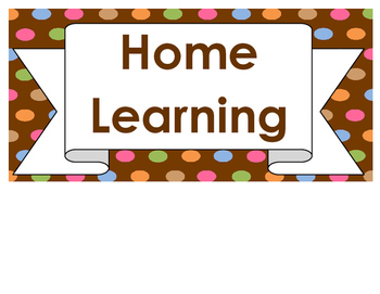 Home Learning Board Signs - Dots Themed - Dots on Chocolate