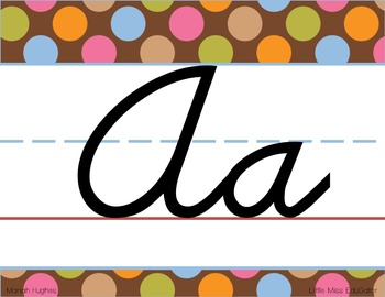 D'Nealian Manuscript/Cursive Alphabet Line Multi-Colored Polka Dots on Chocolate
