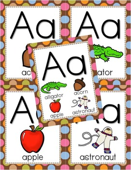 Alphabet Posters - Multi-Colored Polka Dots on Chocolate Theme