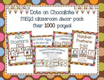 Multi-Colored Polka Dots on Chocolate Themed MEGA Classroom Decor Pack