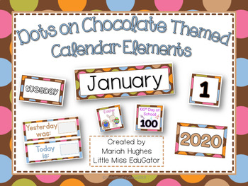 Calendar Kit - Multi-Colored Polka Dots on Chocolate Theme