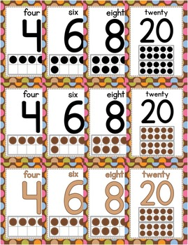 Number Posters 0-20 - Multi-Colored Polka Dots on Chocolate Theme