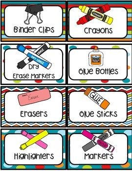 Dots on Turquoise Classroom Supply Labels