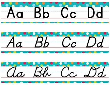 D'Nealian Manuscript/Cursive Alphabet Line Multi-Colored Polka Dots on Turquoise