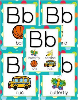 Alphabet Posters - Multi-Colored Polka Dots on Turquoise Themed