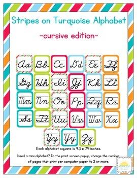 Stripes on Turquoise Themed Classroom ABC Cursive Printables