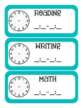 Stripes on Turquoise Themed Classroom Schedule