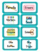 Stripes on Turquoise Themed Classroom Supply Tags