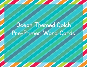 Stripes on Turquoise Themed Decor Dolch Word Cards (Pre-Primer-3rd Grade)
