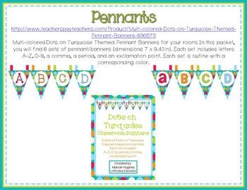 Multi-Colored Polka Dots on Turquoise Themed MEGA Classroom Decor Pack