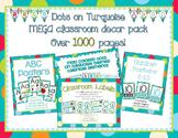 Multi-Colored Polka Dots on Turquoise Themed MEGA Classroom Decor Bundle