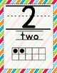 Stripes on Turquoise Themed Number Posters 1-20