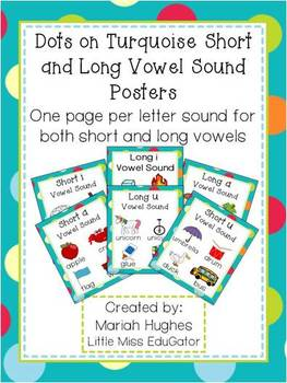 Short and Long Vowel Sound Posters- Multi-Colored Polka Dots on Turquoise Theme