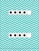 Dots on a 5 Frame (0-5) in Aqua Chevron