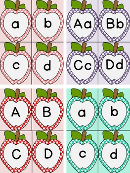 Dotted Apple Alphabet Letter Flashcards 8 Color Bundle