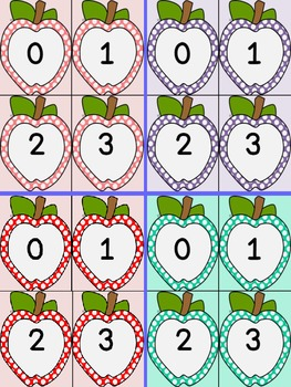 Dotted Apple Number Flashcards 0-100 8 Color Bundle