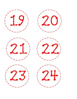 Dotted Classroom Numbers-Red