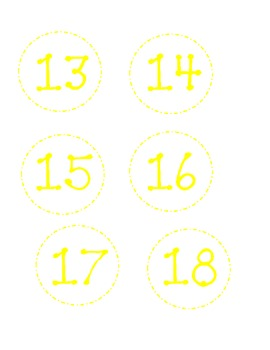 Dotted Classroom Numbers-Yellow