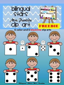 Dotted Dices Kid Clipart Bilingual Stars Mrs. Partida FREEBIE Clips