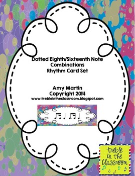 Dotted Eighth and Sixteenth Note Combination Rhythm Cards
