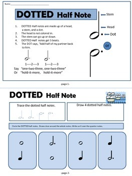 Dotted Half Note Music Theory Mini-Book