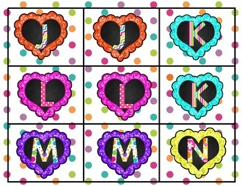 Dotted Heart Letter Matching Game