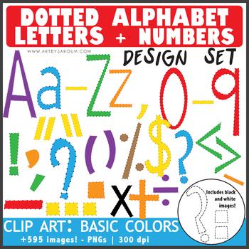 Dotted Letters + Math Symbols BASIC COLORS Bundle