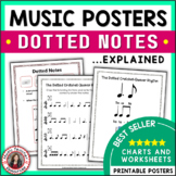 Music Posters: Music Rhythm Dotted Notes Anchor Charts and Worksheets