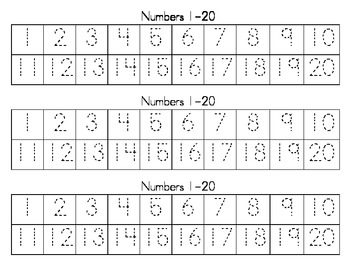Dotted Numbers 1-20 Writing Strips by I HEART TEACHING | Teachers ...