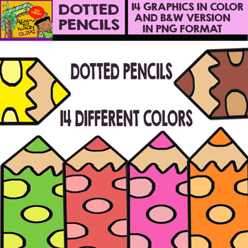 Dotted Pencils - Cliparts Set - 14 Items