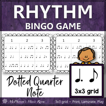 Dotted Quarter Note Rhythm Bingo Game 3x3 grid
