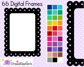 Dotted Scalloped Rectangle Digital Frames