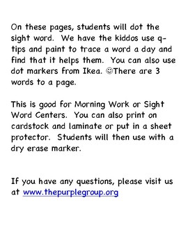 Dotted Sight Words - Primer and Pre-Primer
