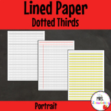 Dotted Thirds Plain, Ruled, Bottom Third Highlighted - Portrait {Writing Paper}
