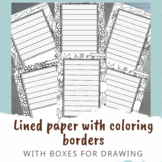 Dotted Thirds Lined paper with coloring borders - with boxes for drawing!