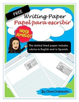 Dotted-lined Writing Paper with Rubric (English& Spanish)