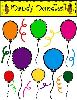 Dotty Balloons and Confetti FREEBIE Clip Art by Dandy Doodles